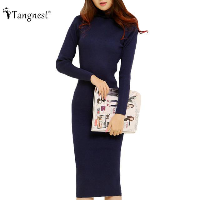 Tangnest moda 2016 mujeres otoño invierno vestidos de suéter delgado cuello alto sexy bodycon túnica color sólido dress wzq128 longknitted