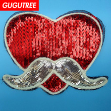 GUGUTREE embroidery Sequins big love heart patches mustache patches badges applique patches for clothing XC-499 gugutree rope embroidery sequins big skull patches love heart patches badges applique patches for clothing xc 47