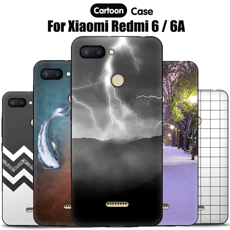 JURCHEN Silicone Case For Xiaomi Redmi 6 Case For Xiaomi Redmi 6A 6 A Cartoon Soft TPU Cute Back Cover For Xiomi Redmi6 6A Case