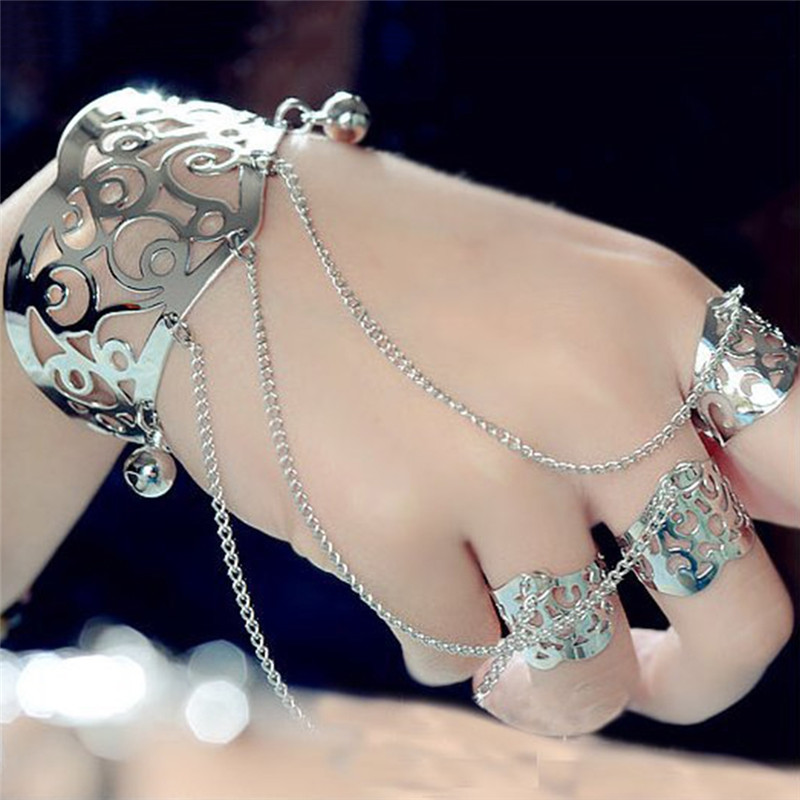 PINKSEE Simple Multilayer Tassel Slave Bracelet GoldSilver Alloy Bangle Finger Ring Harness Hand Chain Jewelry Accessories