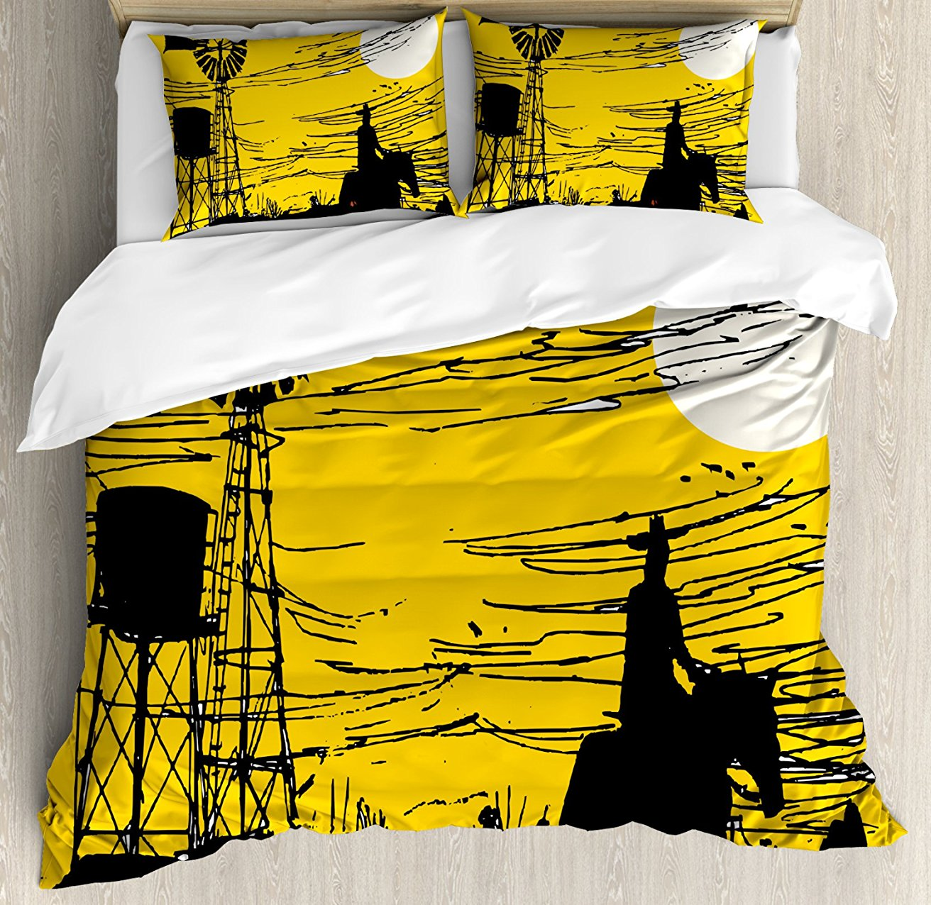 Windmill Decor Duvet Cover Set, Australian Outback Inspired Artwork Cowboy on Horse at Sunset, 4 Piece Bedding Set