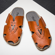 New Casual Men Soft Sandals Comfortable Summer Leather Roman Outdoor Beach Big Size 38-48