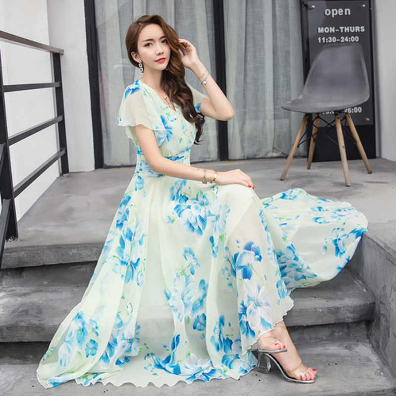 723d8140c0e5d Summer Maxi Dresses Womens 2019 Short Sleeve White Red Froral ...