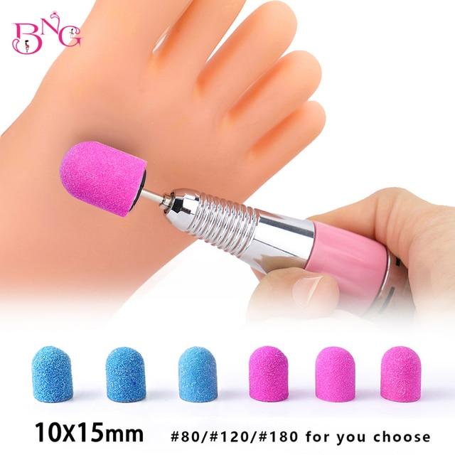 BNG 5pcs 10*15mm Hot Sell Pink Blue Nail Art Sanding Caps Bands Manicure Pedicure Nail Tools File For UV Gel Acrylic Polishing