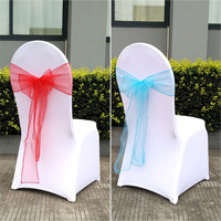 50pcs Sheer Organza Chair Sash Bow For Cover Sashes Bow Banquet Wedding Party Event Xmas Home
