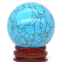 Dyed Blue Turquoise Ball Natural Mineral Quartz Sphere Hand Massage Crystal Healing Feng Shui Home Decor Accessory 40mm