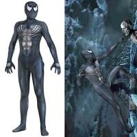 Adult New Venom Symbiote Spiderman Costume Movie Venom Cosplay Marvel Black Zentai Suit Halloween Costume Men bodytights JQ 1339