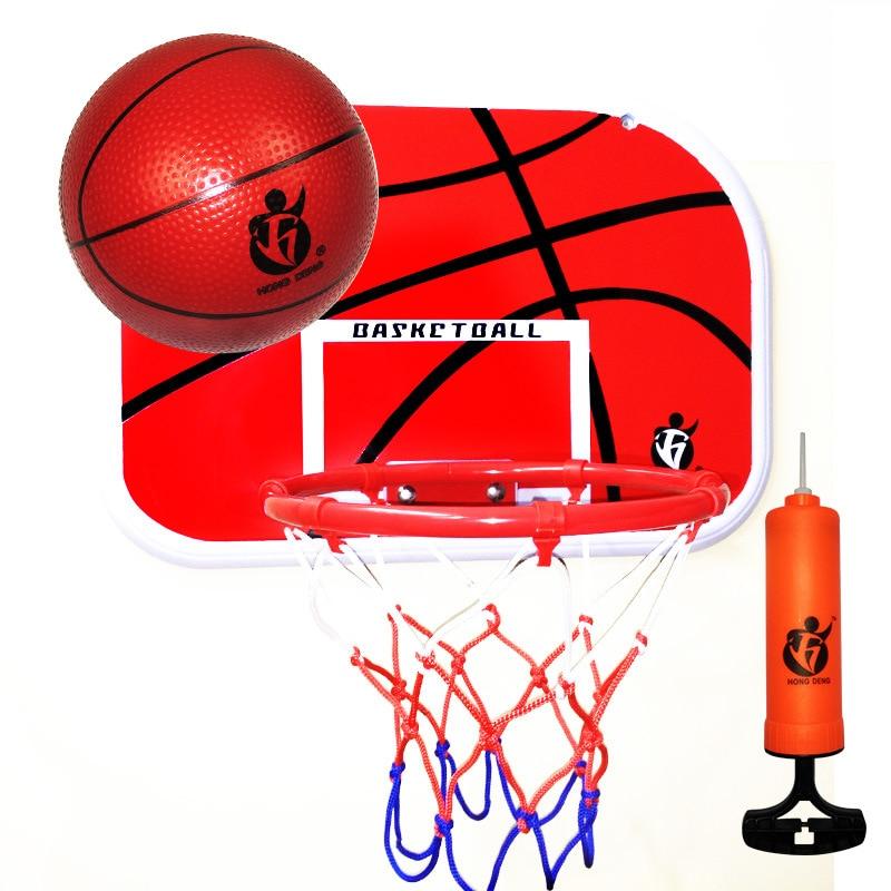 Adjustable Steel Hanging Basketball Hoop Rim PVC Backboard Set Mini Basketball Ball Indoor Training Games For Kids
