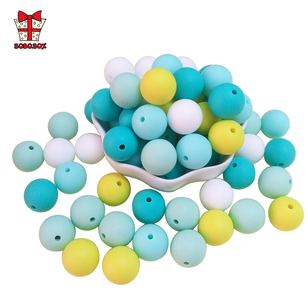 BOBO.BOX 15mm 20pcs Silicone Beads Food Grade Silicone Baby Teething Products Chews Pacifier Chain Clips Beads Baby Teethers Toy