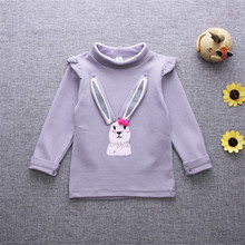 Kids Girls Sweet Pink Children 's Long – Sleeved Autumn Spring T Shirt Bottom Child Kids Girls Pattern Embroidery Shirt
