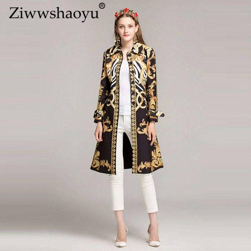 Ziwwshaoyu Automne Designer Tranchée Femmes de Haute Qualité Élégant Complet Manches De Luxe Or Baroque Imprimé Attaché la robe de Taille