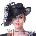 Kueeni Женщин Шляпы Церковь Шляпы Элегантный Леди Sinamay Шляпы Черный Цвет Геометрический Узор Широкими Полями Мода Леди Свадьба Партии Шапки