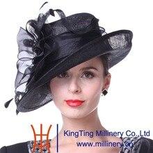 Kueeni Women Hats Church Hats Elegant Lady Sinamay Hats Black Color Geometric Pattern Wide Brim Fashion Lady Wedding Party Hats