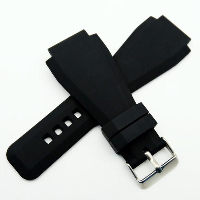 34 x 24mm Convex End Silicone Rubber Watch Band For Bell