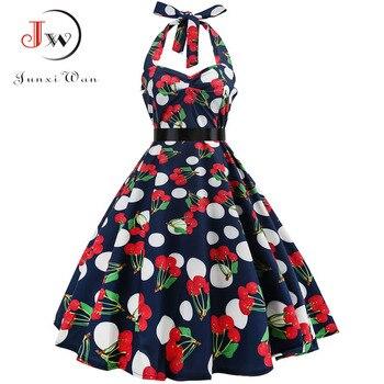 Sexy Halter Party Dress 2018 Retro Polka Dot Hepburn Vintage 50s 60s Pin Up Rockabilly Dresses Robe Plus Size Elegant Midi Dress 6