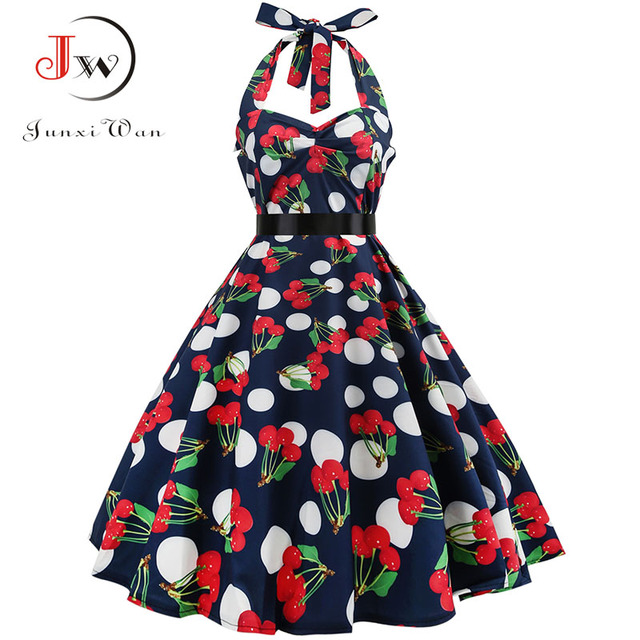 Sexy Halter Party Dress Retro Polka Dot Hepburn Vintage 50s 60s Pin Up Rockabilly Dresses Robe Plus Size Elegant Midi Dress 6
