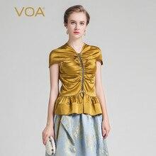 VOA 2017 Summer Silk Luxury Palace Style Queen T Shirt Fashion Golden V-neck Zipper Silky Short Sleeve Slim Women Tops BZX00201