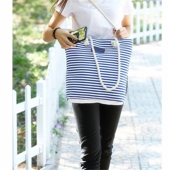 Girl Leisure Summer Canvas Shopper Shoulder Bag Striped Beach Bags Big Capacity Tote Women Ladies Casual Shopping Handbag
