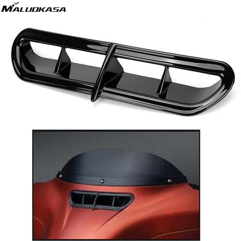 MALUOKASA Motorbike Fairing Vent Accent New For Harley Davidson Electra Street Glide Trike Glide 2014 2015 2016 2017 Motor Black  fairing vent cover abs chrome batwing fairing vent trim with led accent lights cover for harley street glide efi flhx 14 16