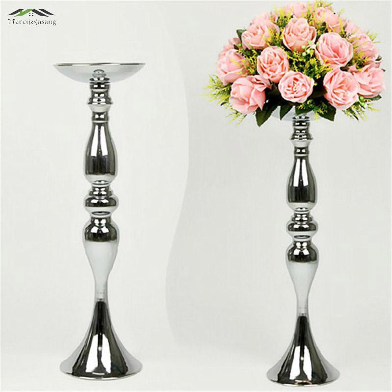 10PCS / LOT srebrni metalni držači svijećnjaka 50cm / 20 '' visina - Kućni dekor