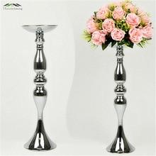 10 STKS / PARTIJ Verzilverd Metalen Kandelaars 50 cm / 20 '' Hoogte Stand Zetten Bloemen Als Road Lead Rack Voor Bruiloft Evenement Decoratie