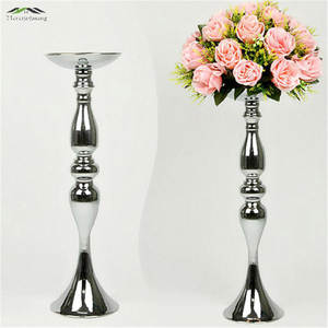 10PCS/LOT Silver Candle Holders 50cm/20'' Stand Flowers Vase Candlestick Road Lead Candelabra Centre Pieces Wedding Decoration