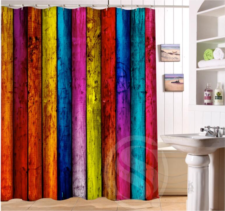 Colorful Old Wood Personalized Custom Shower Curtain Bath Waterproof MORE SIZE SQ0422 LQC