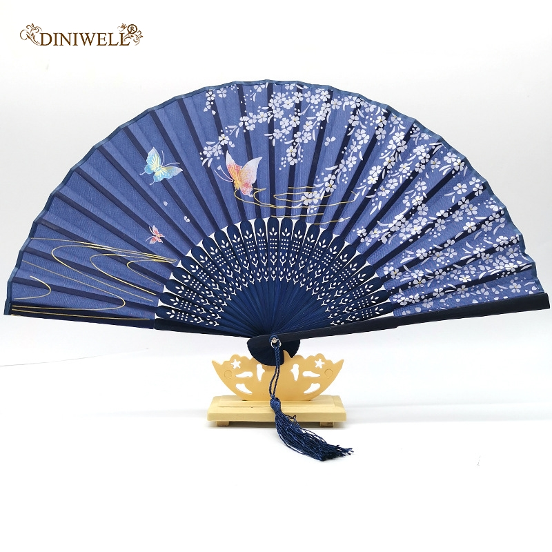 DINIWELL Bamboo Folding Hand Fan Charming Elegant Woman Handmade Fans Retro Flower Printed Fans For Wedding Gift Party Favors