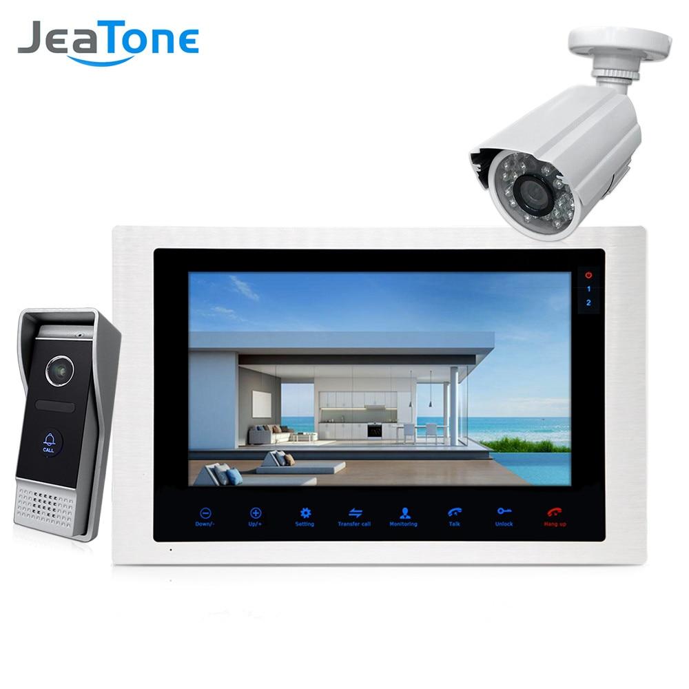 JeaTone 10 4 wired Deurtelefoon Video Intercom Video deurbel monitor Intercom + Extra 1200TVL Security Camera Waterdicht systeem