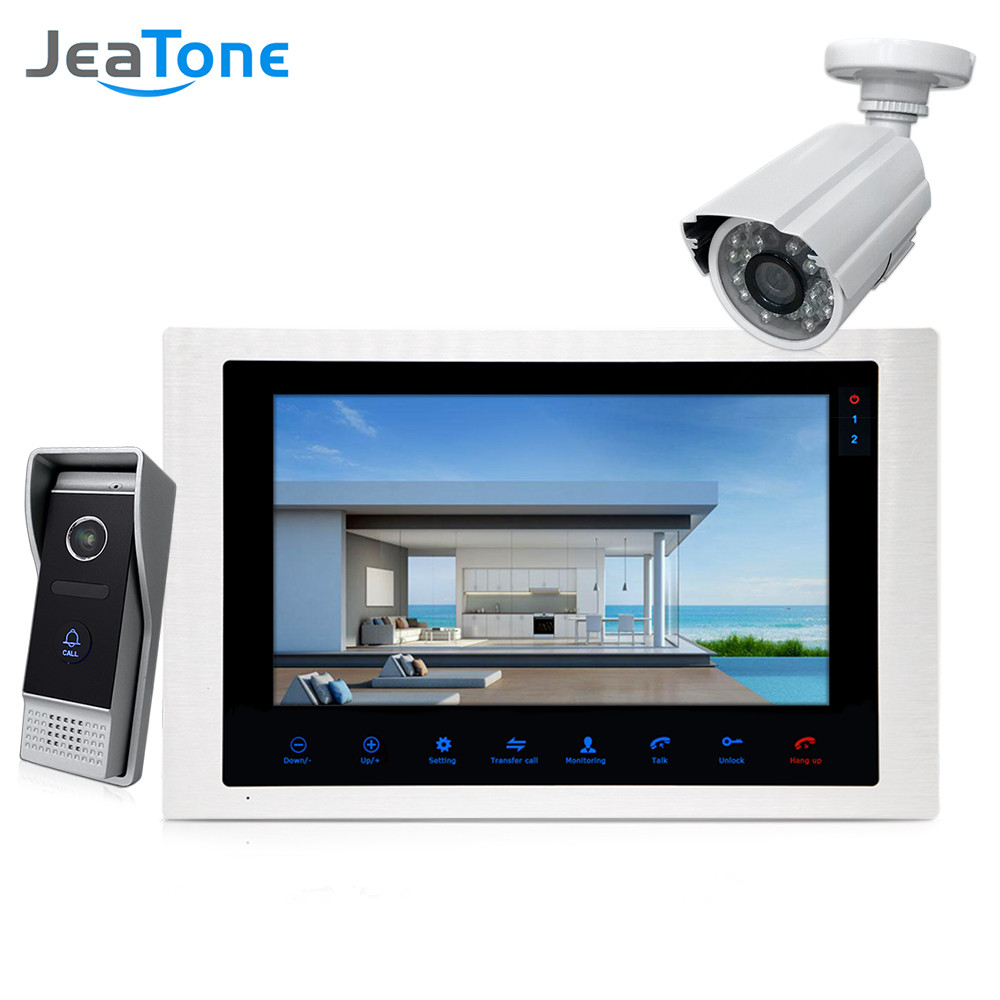 JeaTone 10 4-wired Door Phone Video Intercom Video doorbell monitor Intercom + Extra 1200TVL Security Camera Waterproof System jeatone 4 inch tft wired video door phone intercom doorbell home security camera system picture memory