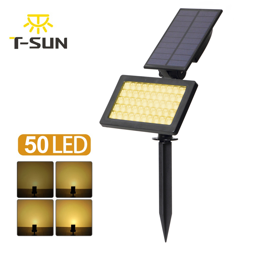 T-SUN 50 LED Solar Powered Spotlights 3000K Outdoor Landscape Light 960 Lumens IP44 180 Angle Adjustable For Garden Tree Patio
