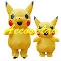 Inflável Traje adulto traje Pokemon Pikachu Galloween Para mulheres Meninas sexy Mascote crianças