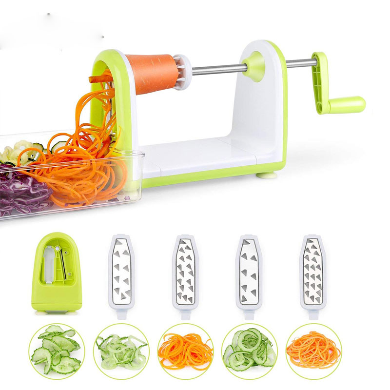 5 Blades Vegetable Spiralizer Folding Veggie Pasta & Spaghetti Potato Vegetable Spiral Cutter Zucchini Slicer