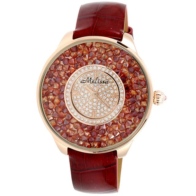 Luxury Full Colorful Crystals MELISSA Watches Quartz Popular Big Size Women Dress Wristwatch Leather Feminino Montre 3ATM F12008