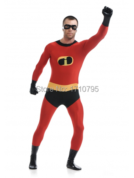 Mr Incredible Costume red spandex zentai suit halloween cosplay Mr Incredible superhero costumes the most popular free shipping