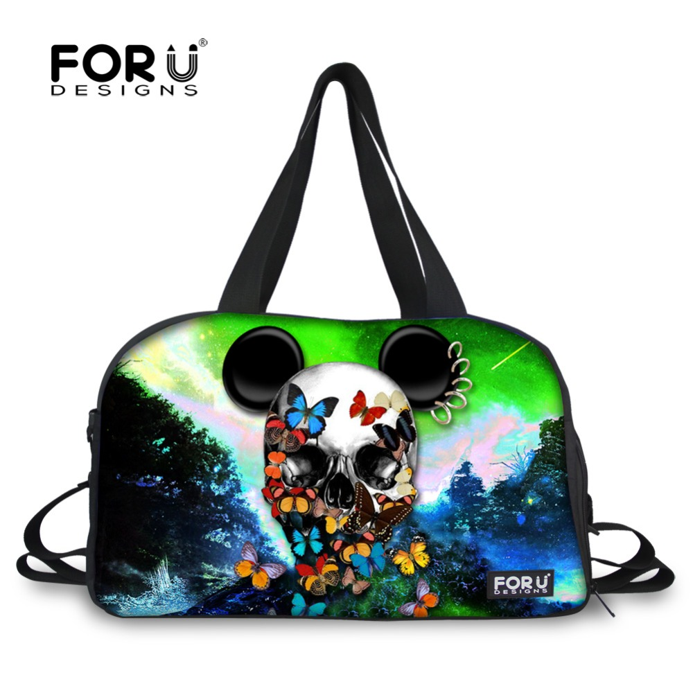 FORUDESIGNS Brand Casual 3D Skull Printing Travel Tote Male Travel Handbags Women Men's Luggage Travel Bag Folding Bags Bolsas