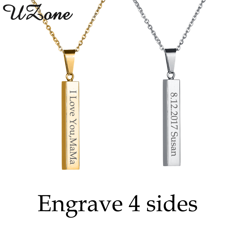 UZone Charms Solid Blank Bar Necklace Stainless Steel Custom Name Column Strip Necklace Can Drop Shipping