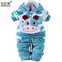 New 2015 Baby Boys Girls Velvet Children Clothing Sets Boys Cartoon Hoodies Pants Suits For Autumn