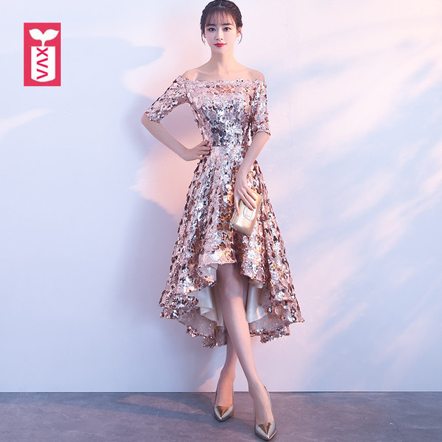 XVA Glittering Sequins Party Dresses Women Banquet Formal Forked Tail Long  Dress Gold Off Shoulder Mid 8d1f626bd651