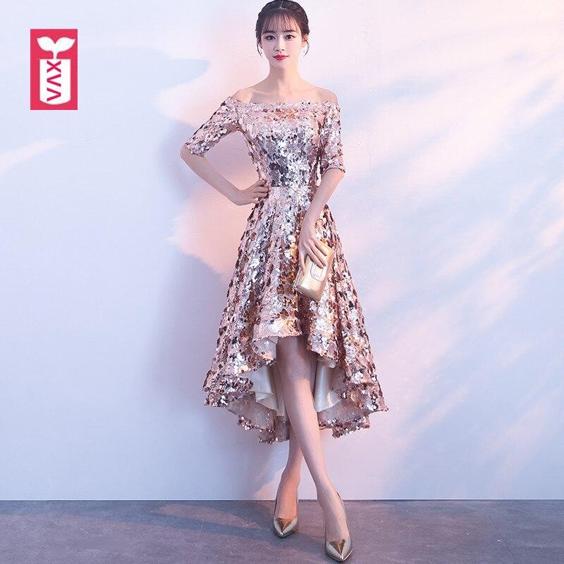 XVA Scintillant de Paillettes Parti Robes Femmes Banquet Formelle Queue Fourchue Longue Robe Or Encolure Mi-mollet Robe 2018