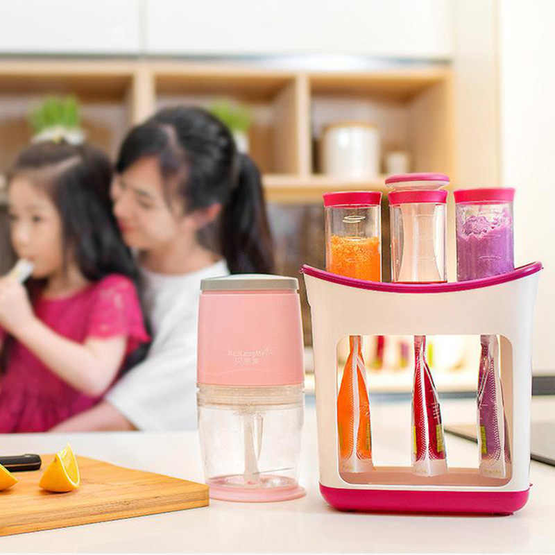 Baby Food Maker Baby Feeding Containers Storage Toddler Solid Juice Maker Food Squeeze Station With Fruit Puree Storage Bags