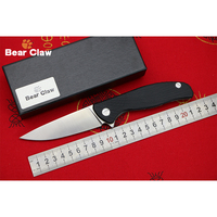 BEAR CLAW HATI LOW VERSION D2 Blade G10 Handle Flipper Folding Knife Outdoor Camping Hunting Pocket