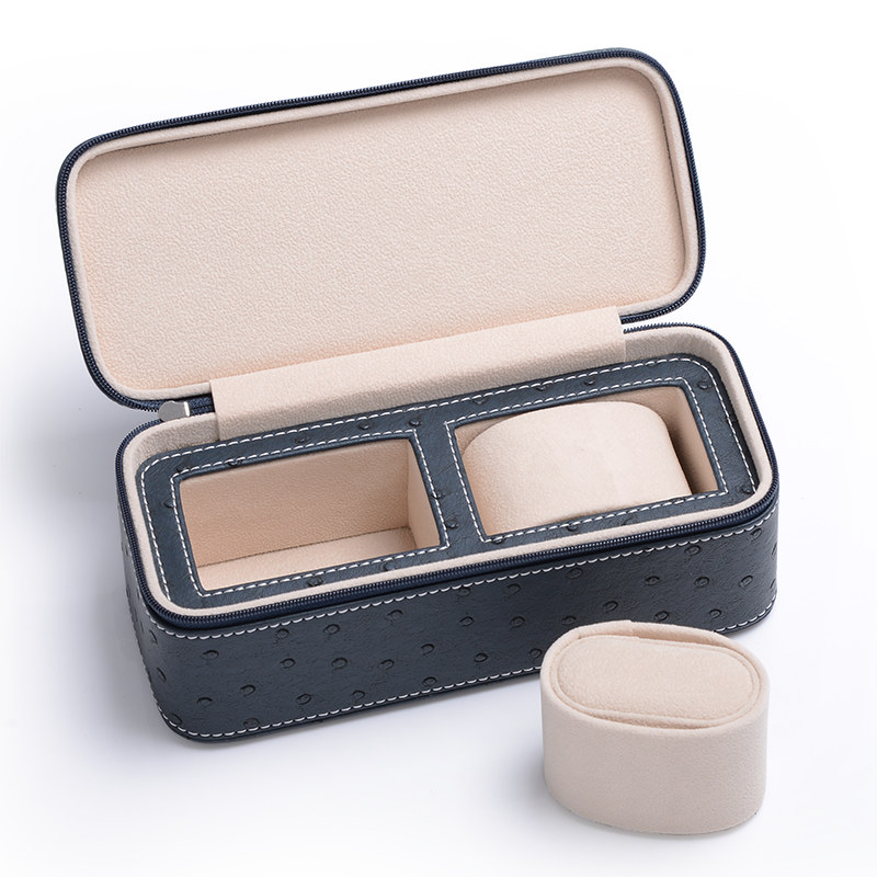 2 Slots PU Watch Box Ostrich Skin Pattern Watch Storage Case Black Luxury Brand Jewelry Gift Box New Package Travel Box C024