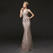 Luxus Gold Champagne Mermaid Perlen Pailletten Kristall Diamant Strass Abendkleider 2016 mit Vedio Lange Abschlussball-kleider XE239