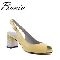 Bacia Sheepskin Sandals 3 Color About 7cm Heel Summer Shoes Women Leisure Genuine Leather High Quality