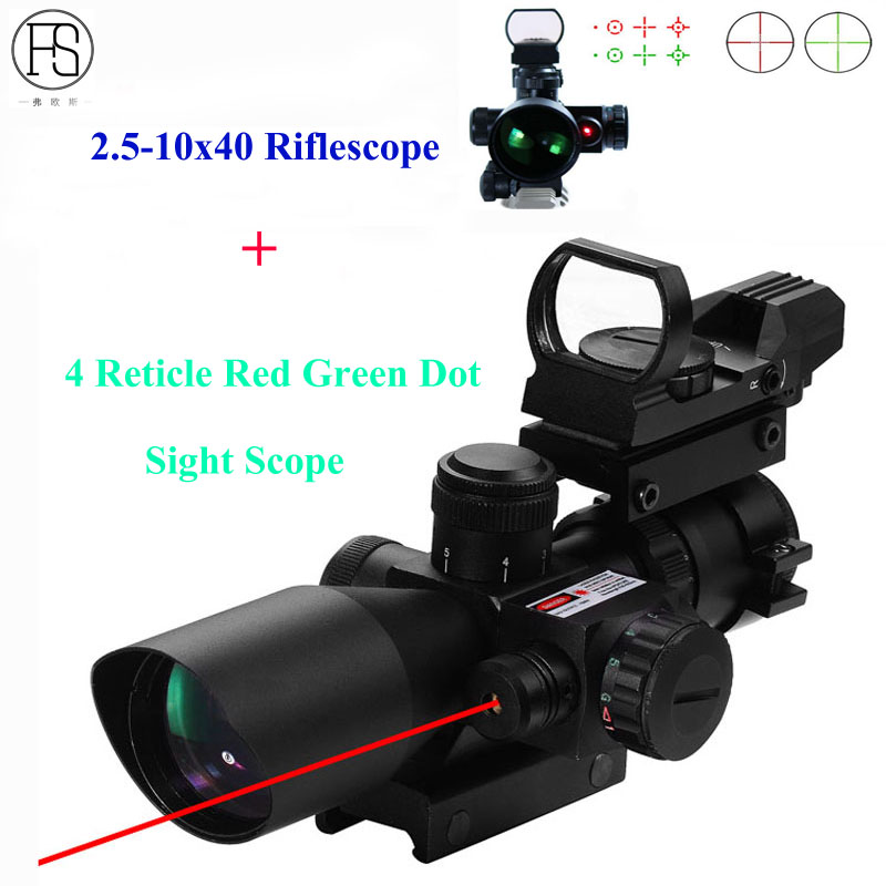 цена на 2.5-10x40 Tactical Riflescope Hunting Sight Optics Red Dot Laser Rifle Scope + 4 Reticle Red Green Dot Sight Scope Reflex Sight