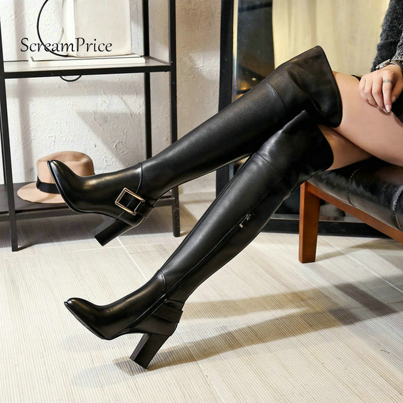 Winter Square High Heel Pointed Toe Woman Genuine Leather Over The Knee Boots Fashion Buckle Zip Party Thigh Boots Black