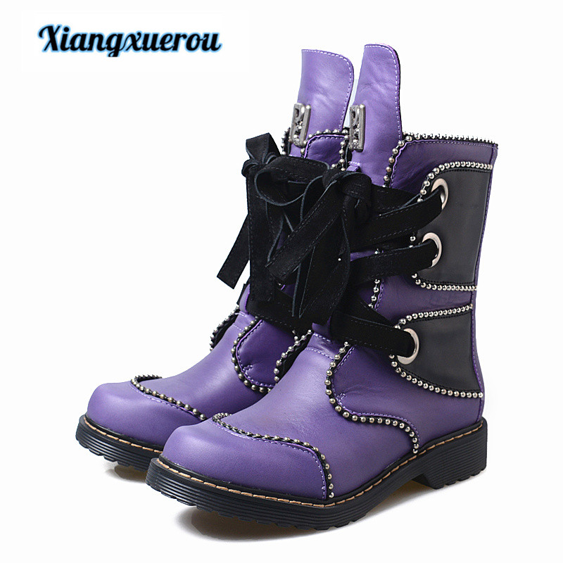 Xiangxuerou 2018 winter handmade shoes individual riveted bead beaded leather low heel tendons Martin boots riveted
