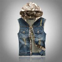 Autumn Brand Men Ripped Jean Hooded Vest Men's Hoody Waistcoat Patchwork Camouflage Denim Jeans Ves Motorcycle Vest M-XXL
