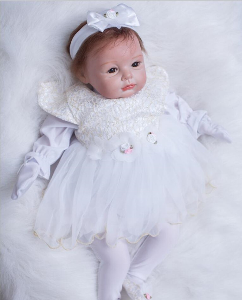 Silicone Reborn Baby Dolls Handmade Soft Body New Bebe Reborn Babies Doll Toys Play House Baby Growth Partners 22inch Brinquedos partners cd